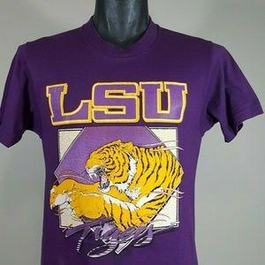 Vintage 80s LSU Tigers T Shirt Sz M Screen Stars